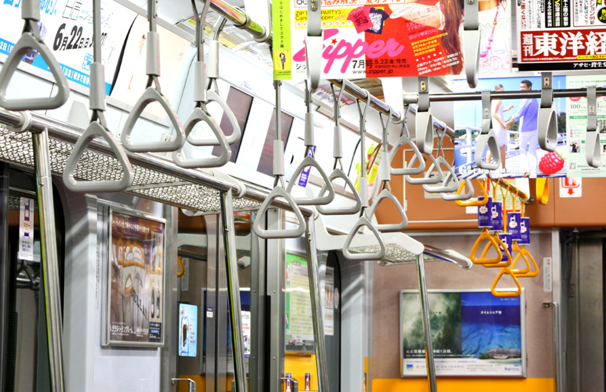 Hanging straps with triangular handles in a modern Japanese commuter train - Wikipedia
