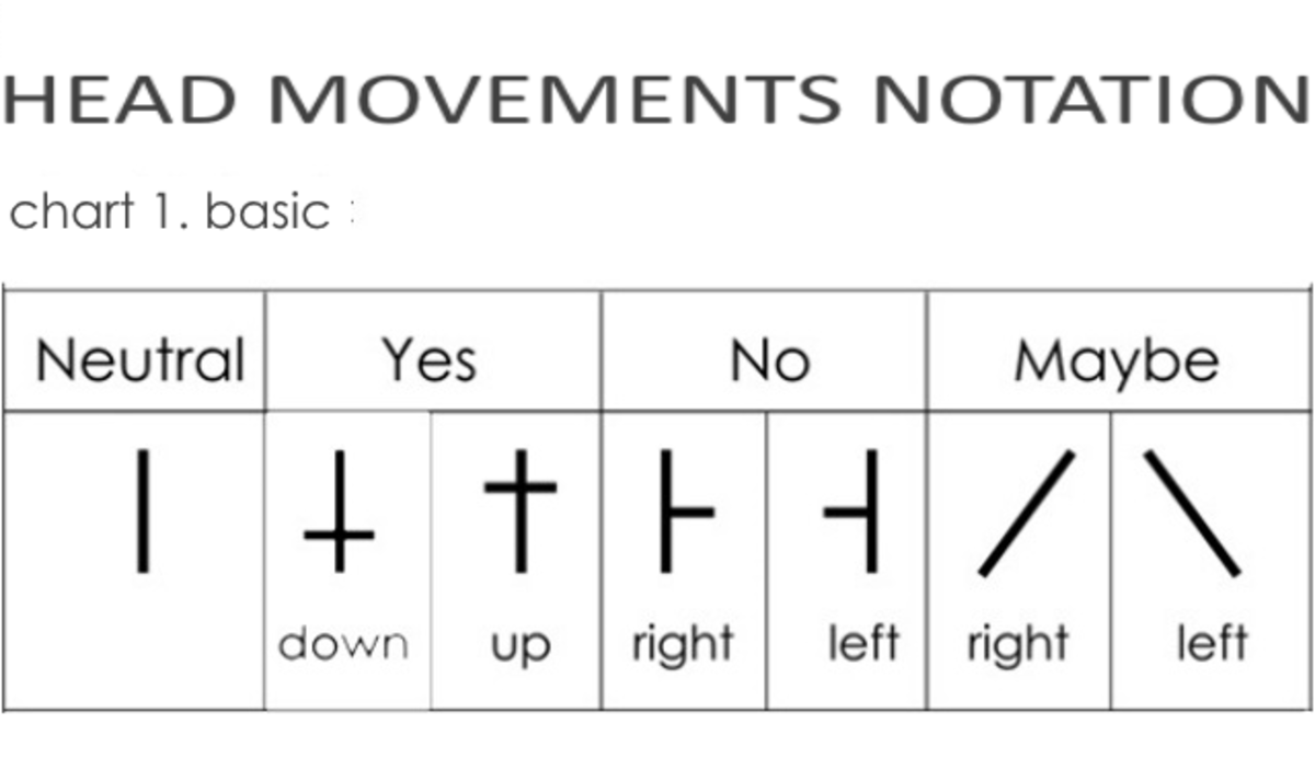 Movement notation for the 6 Basic head moves.