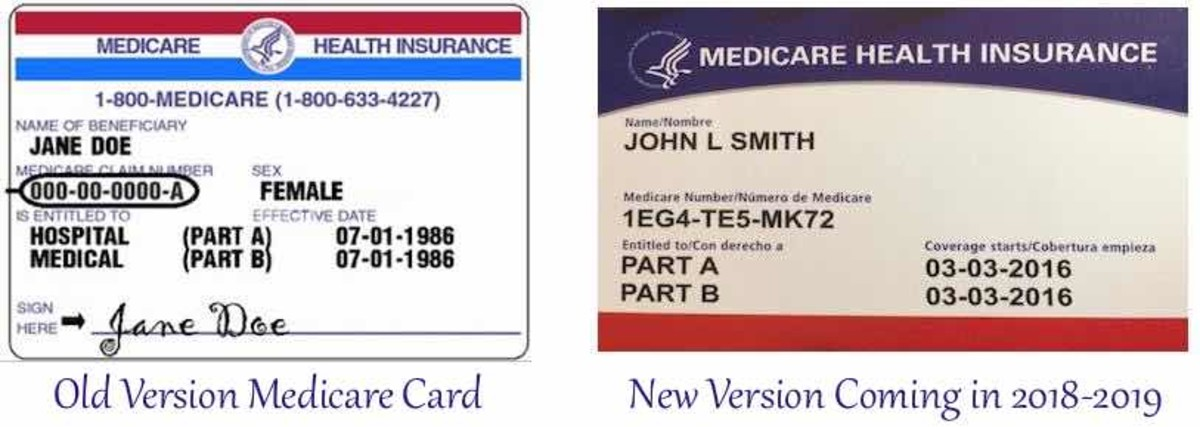 Original Medicare card on left is being replaced with new version shown on the right.