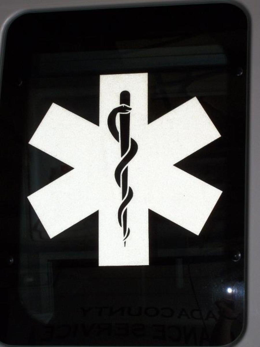 Star of Life on ambulance window