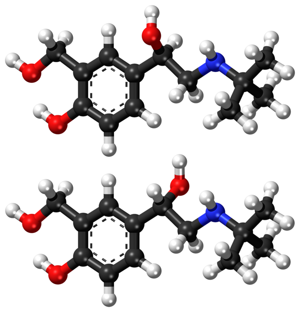 Structure of the two slightly different forms of salbutamol; carbon atoms are black, hydrogen white, oxygen red, and nitrogen blue