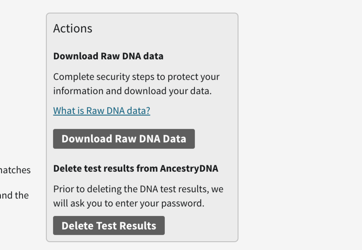 Download your raw DNA data