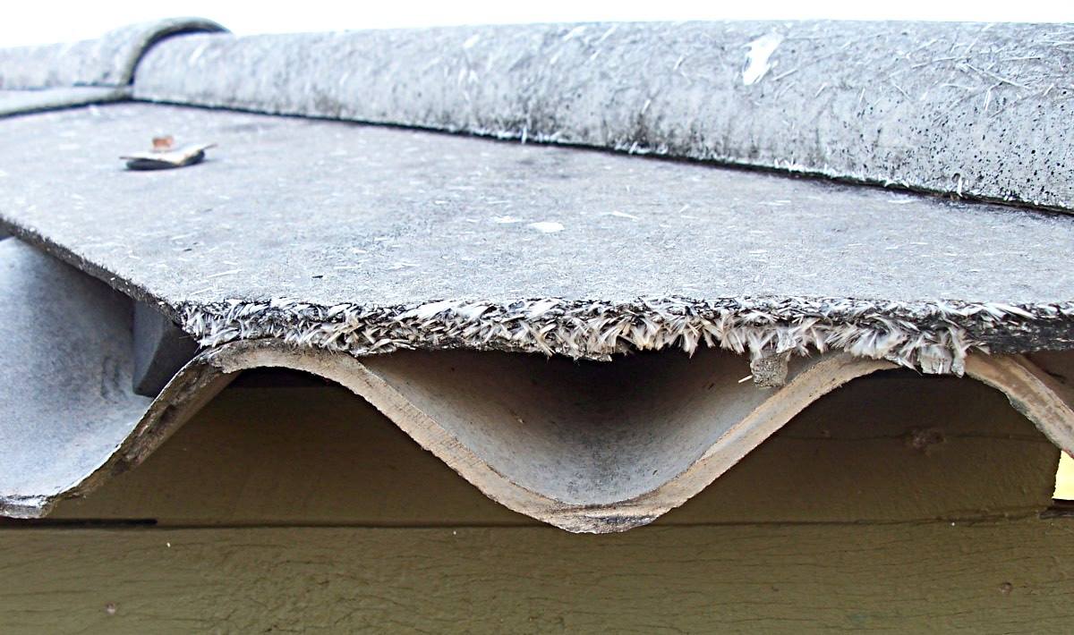 Asbestos roofing sheets showing weathering and exposure of loose fibres.