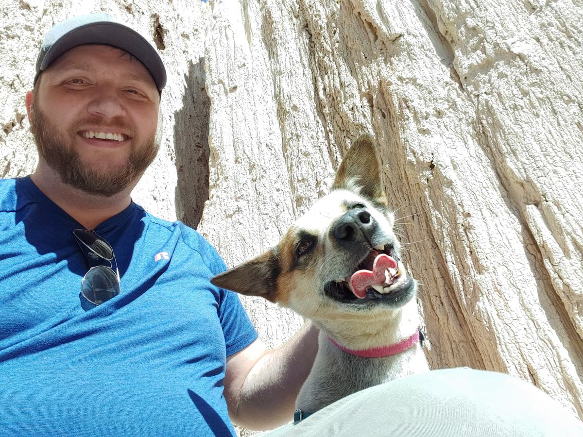 Me and my dog, Kayley, at Cathedral Gorge, NV.