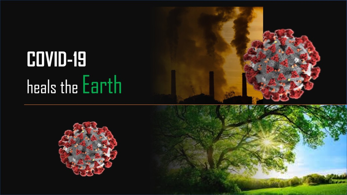 Collage of the transformation of a polluted atmosphere to a greener environment through COVID-19 precautionary measure.