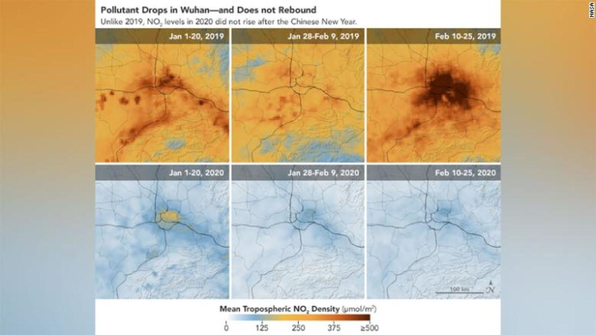 NASA and European Space Agency pollution monitoring satellites show the decrease of nitrogen dioxide over China.