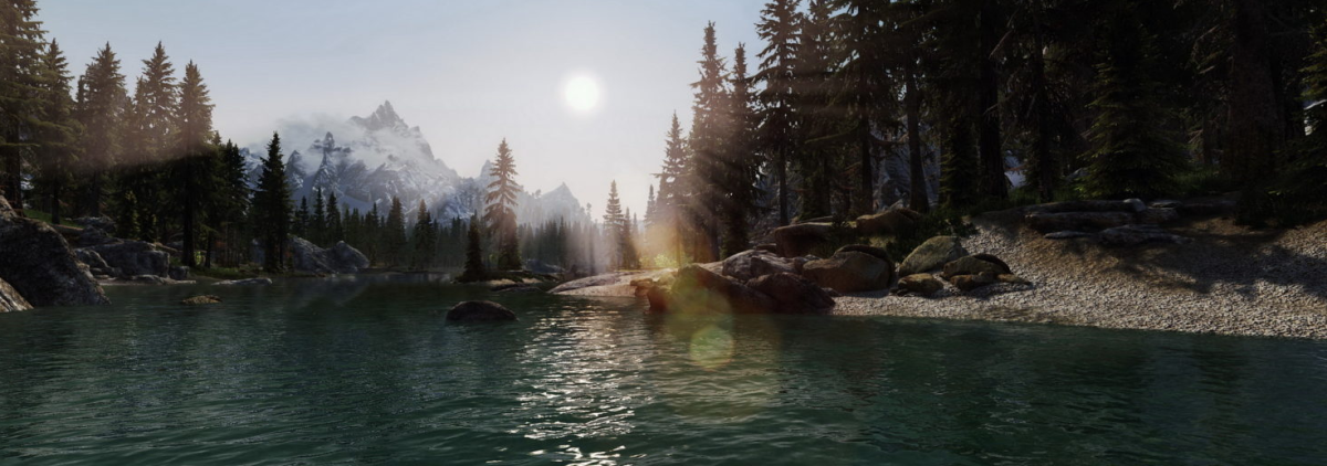 Skyrim (I'm not sure about you, but I could certainly do with turning myself into an elf and walking right into this scene right now!)