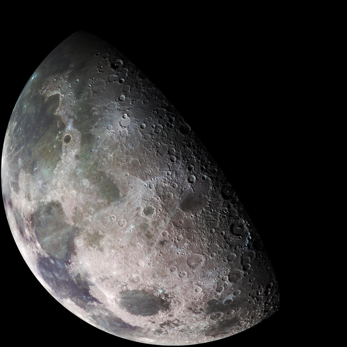 The view of a half moon up close.