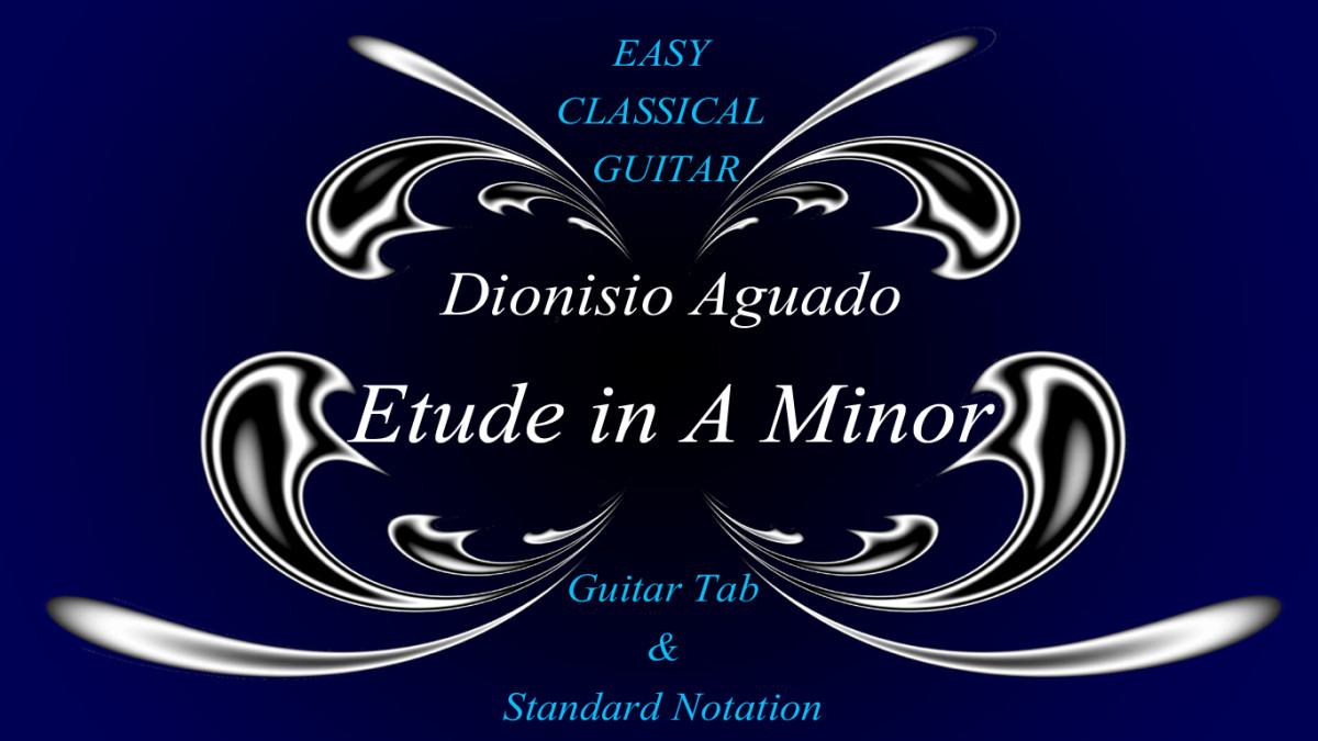 Easy Classical Guitar: Aguado's Etude in A Minor in Guitar Tab, Standard Notation and Audio