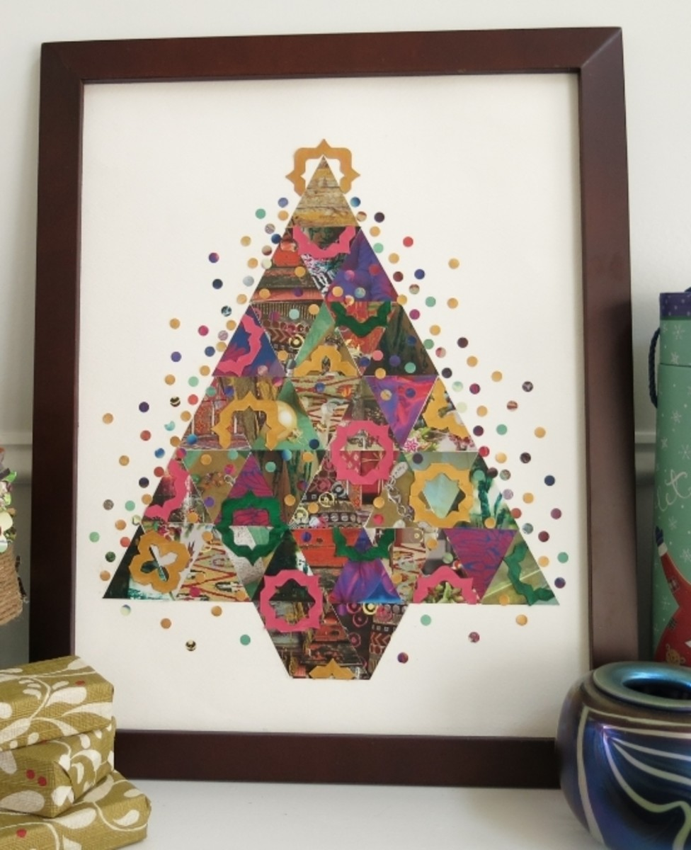 DIY Holiday Decoration:  Paper Patchwork Christmas Tree Collage