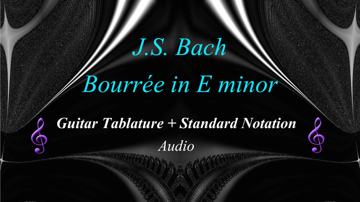 Bach - Bourree in E minor - guitar tab and standard Notation