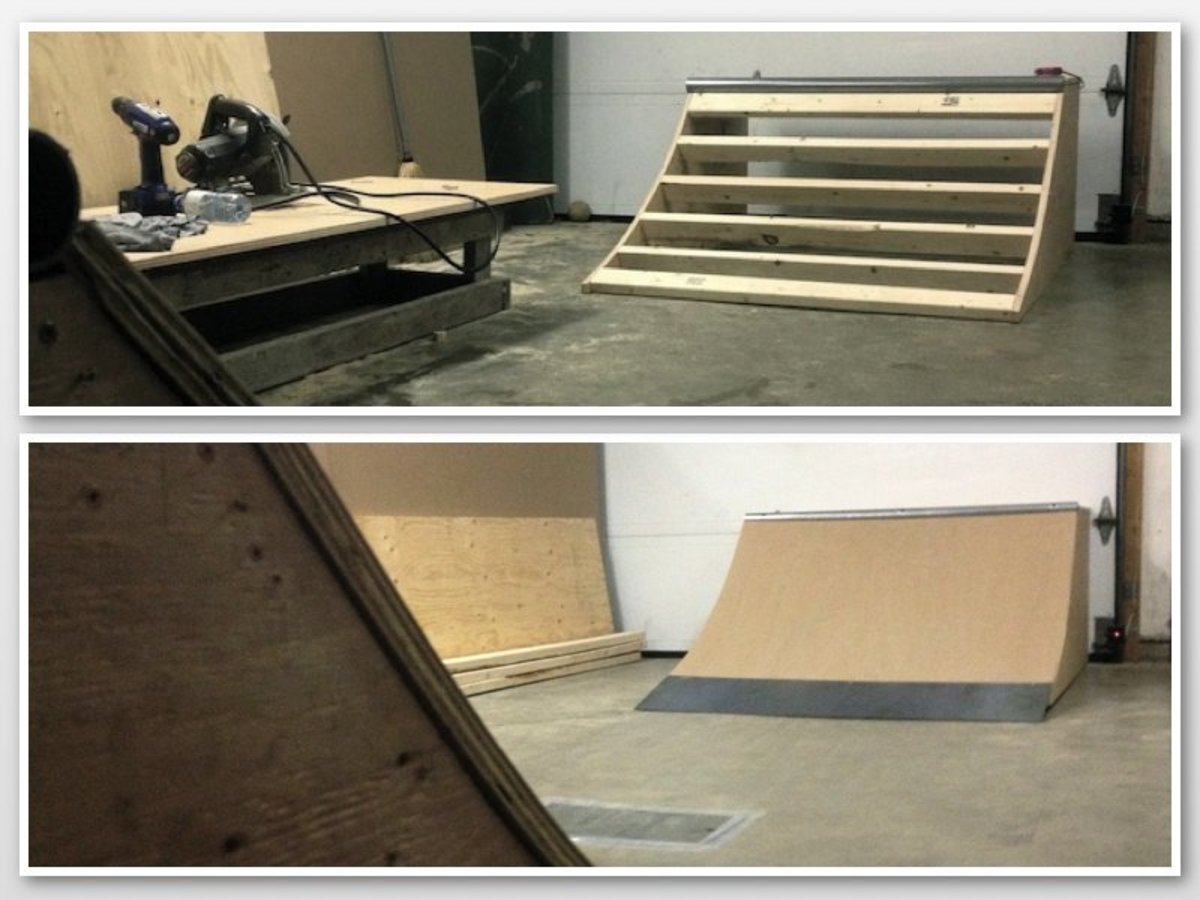 A micro ramp consists of two micro quarter pipes, 2 feet high by 4 feet wide, facing each other inside a garage or basement.