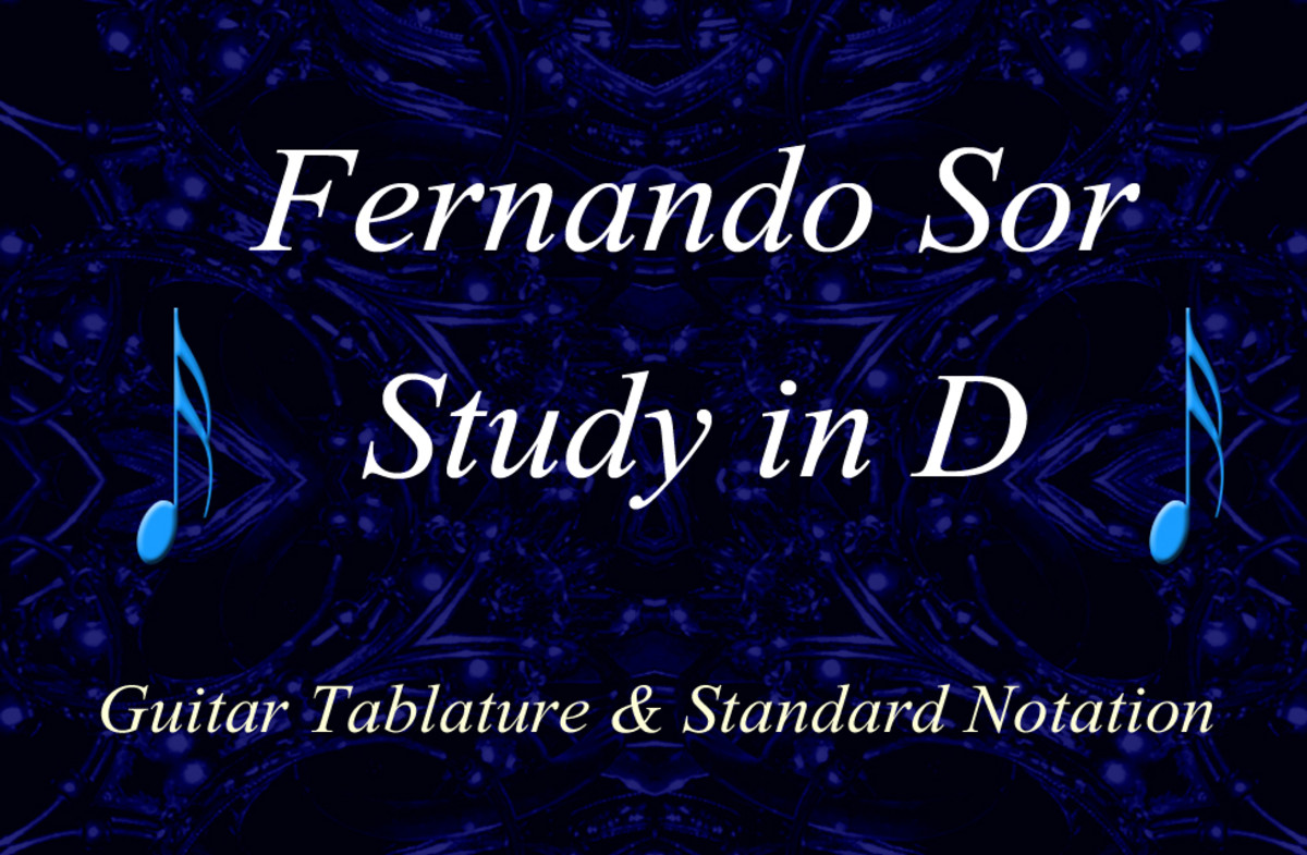 Fernando Sor: Study in D - Classical Guitar arrangement in Standard Notation and Guitar Tab