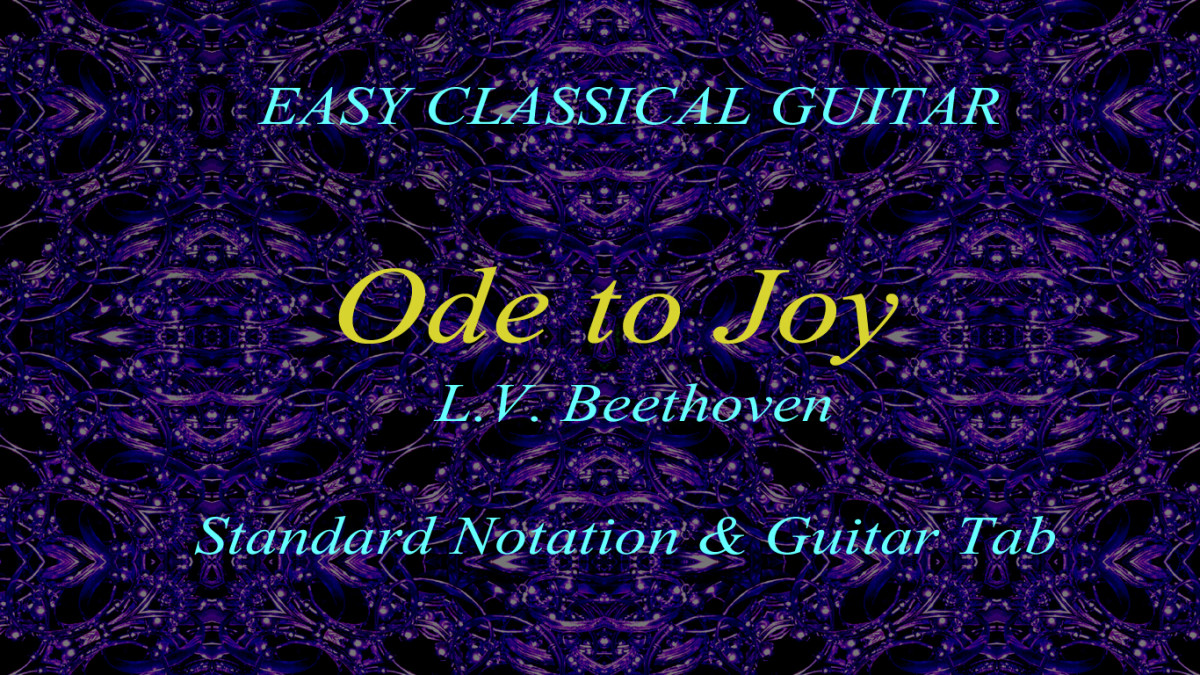 """Ode to Joy"" by Beethoven: Easy Classical Guitar Arrangement in Tab and Standard Notation"