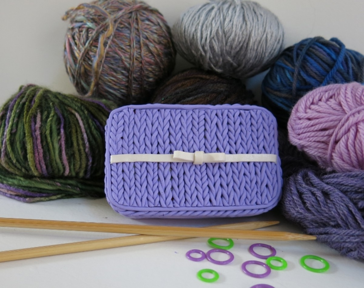 """DIY Craft Tutorial:  Polymer Clay """"Knit Stitch"""" Notions or Trinket Box - Great Gift for Knitters!"""