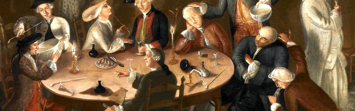 Consumption of alcoholic beverages was very popular during Colonial times. painting  done by John Greenwood in 1755