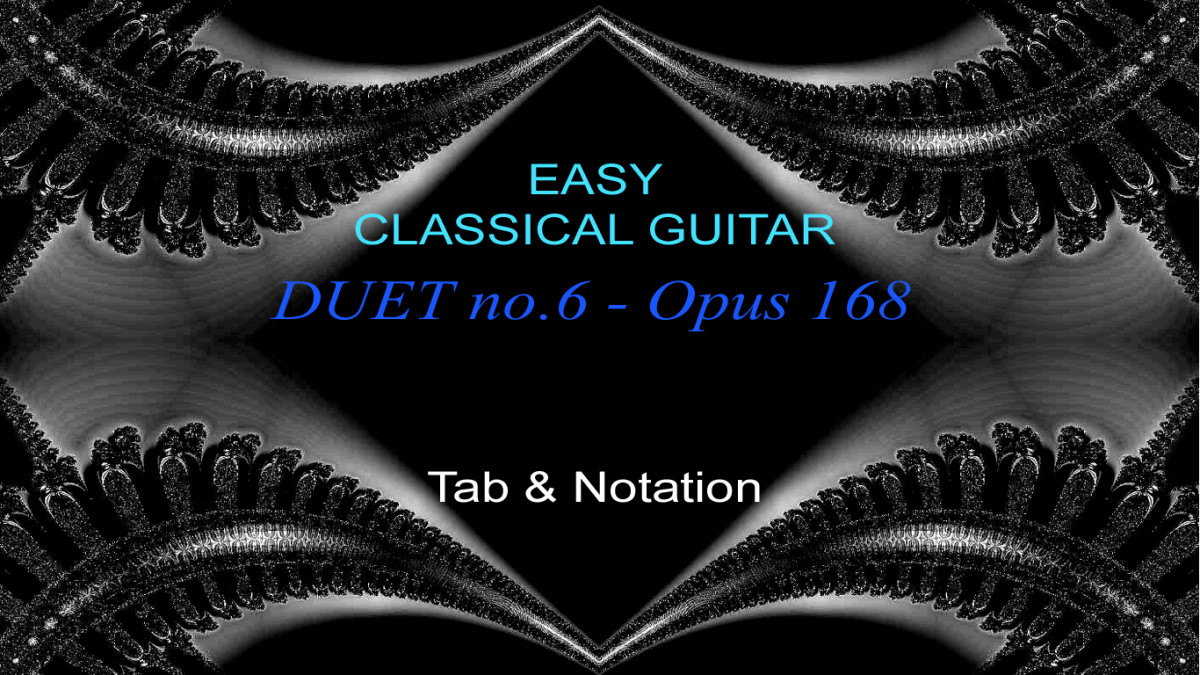 Easy Classical Guitar Duet by J. Kuffner in guitar tab and standard notation