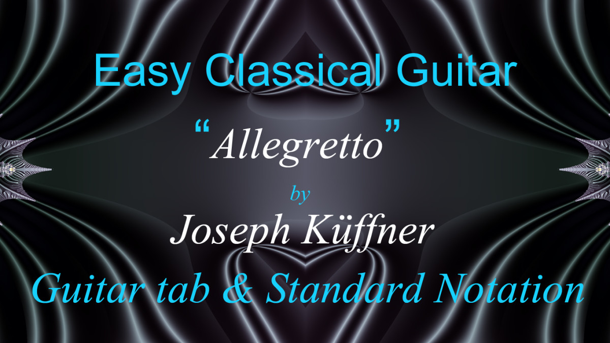 Easy Classical Guitar: Allegretto by J. Küffner in Guitar Tab, Standard Notation and Audio