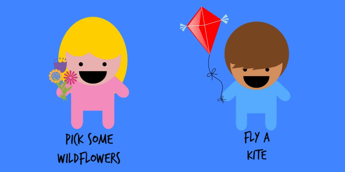 Picking wild flowers and flying kites are fun kid-thing to do.