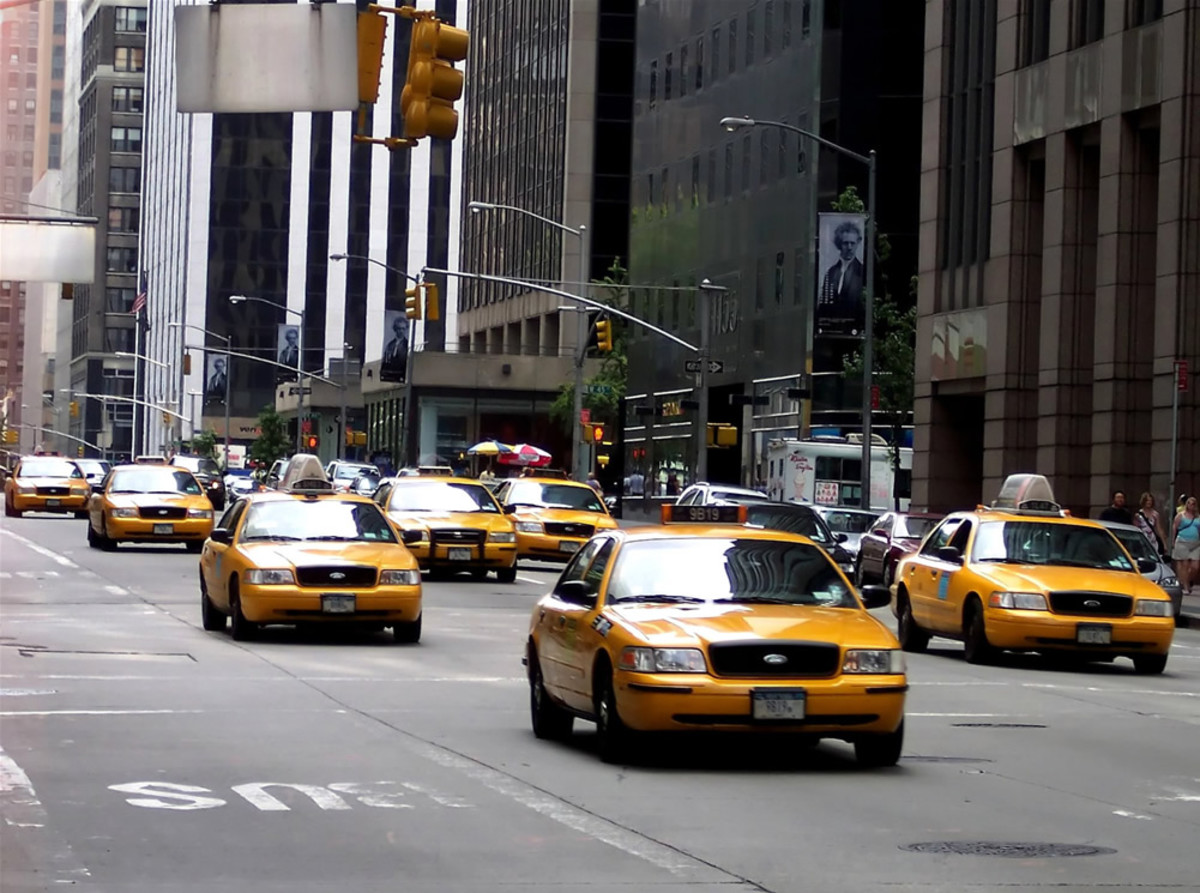 Taxi cabs of New York City.