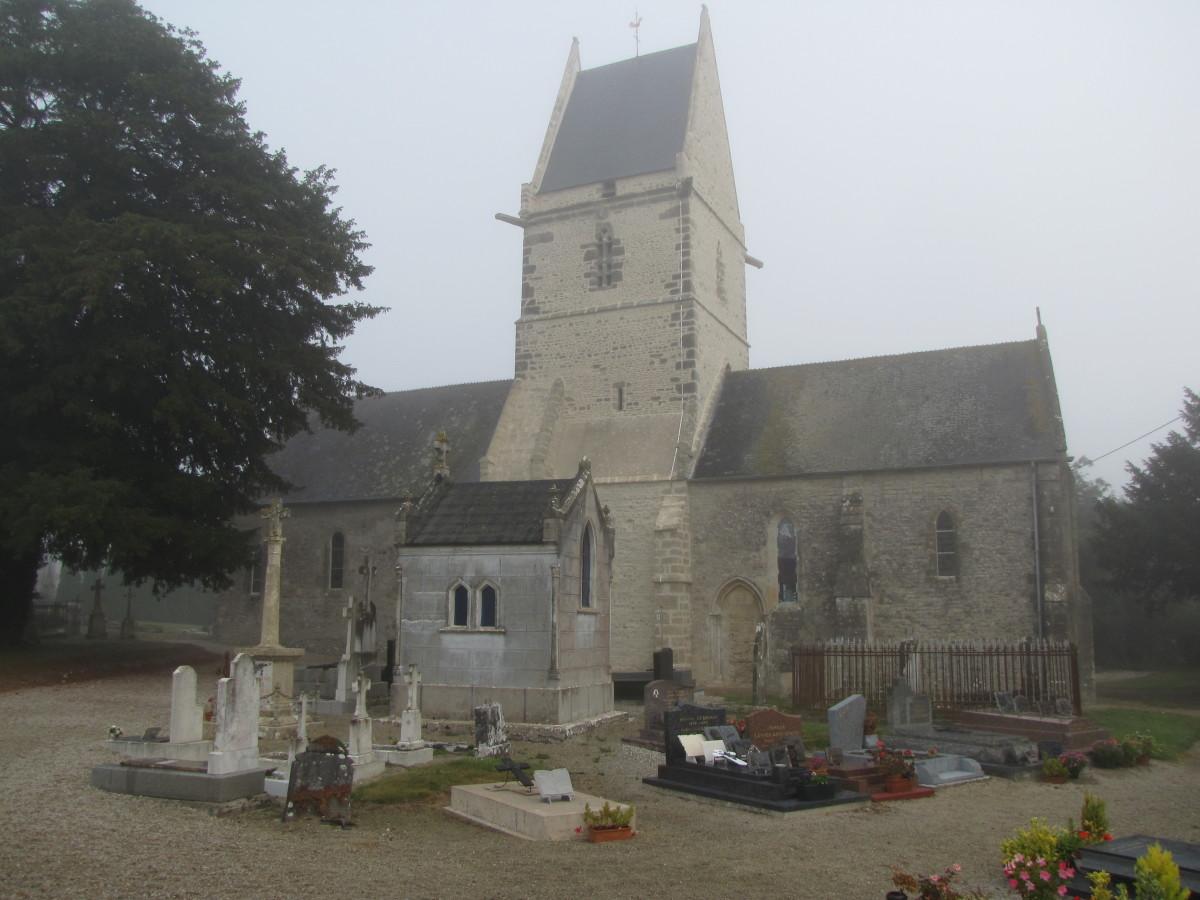 The 12th century church in Angoville-au-Plain.