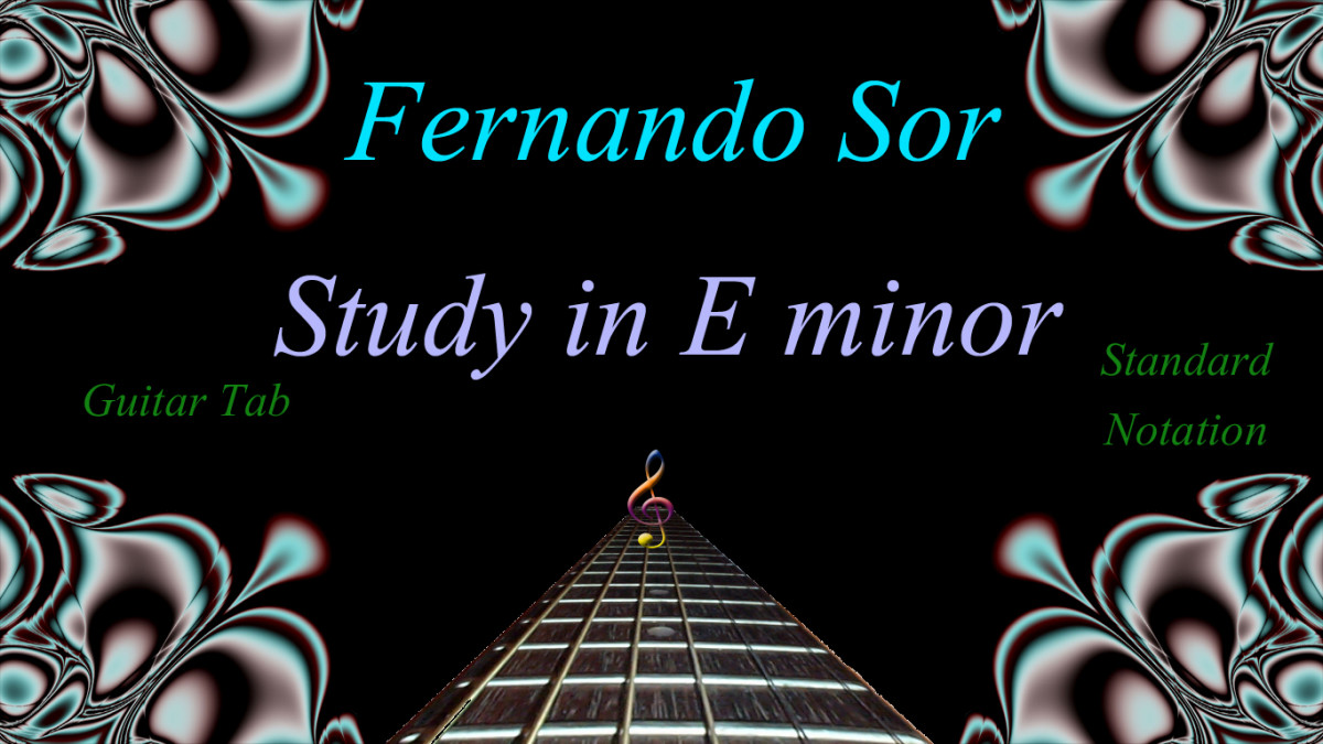 Easy Classical Guitar: Fernando Sor-Study in E minor in Tab and Standard Notation