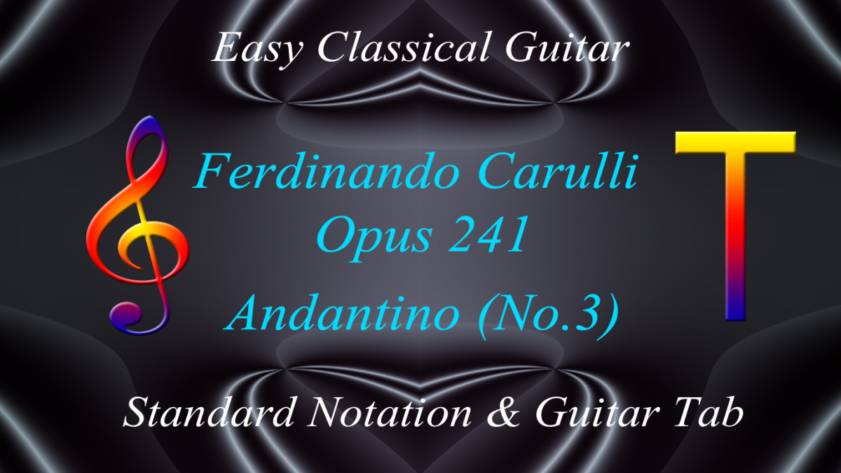 Carulli: Opus 241-Andantino No.3: Easy Classical Guitar Tab and Standard Notation