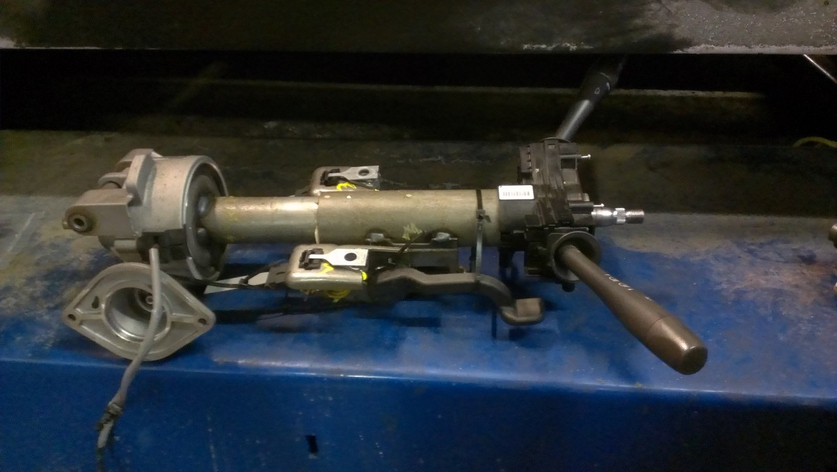 Steering column removed from a 2006 Chevy Malibu Maxx (with steering assist motor removed). In the lower left corner of the picture, you can see where the assist motor connects to the column.