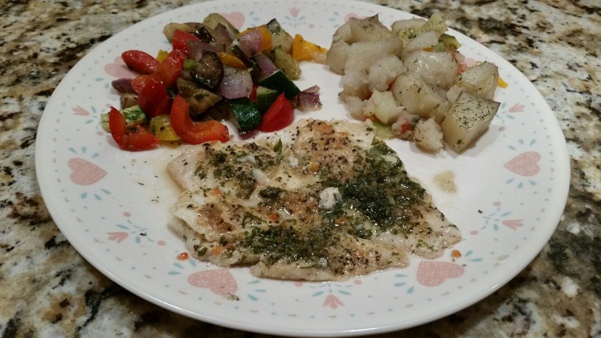 Broiled Fish, Baked Potatoes, and Grilled Vegetables