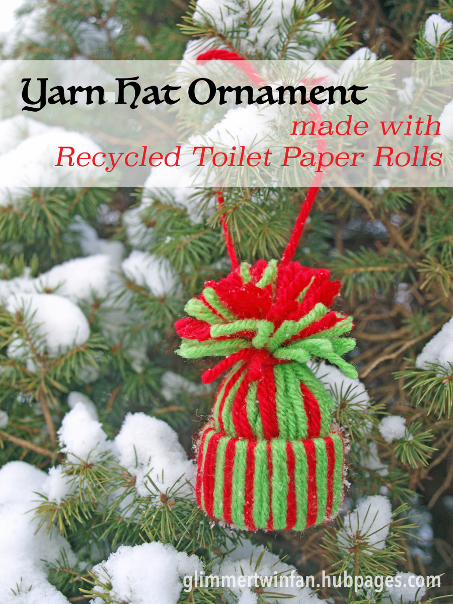 20456d8cee Yarn Hat Ornament made with Recycled Toilet Paper Rolls Craft Tutorial