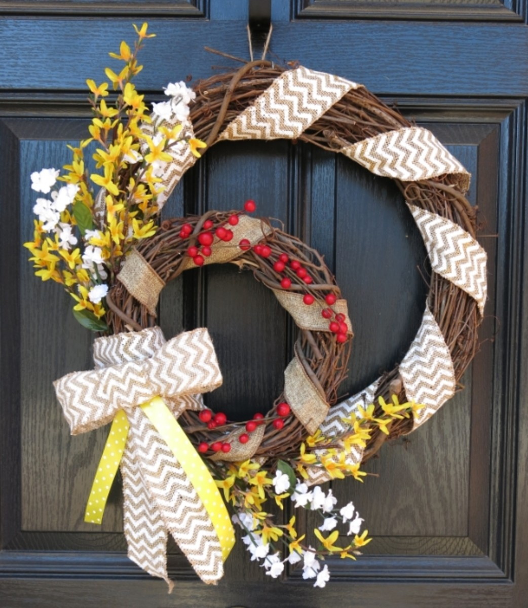 DIY Craft Tutorial:  How to Make a Double Grapevine Welcome Wreath for Every Season