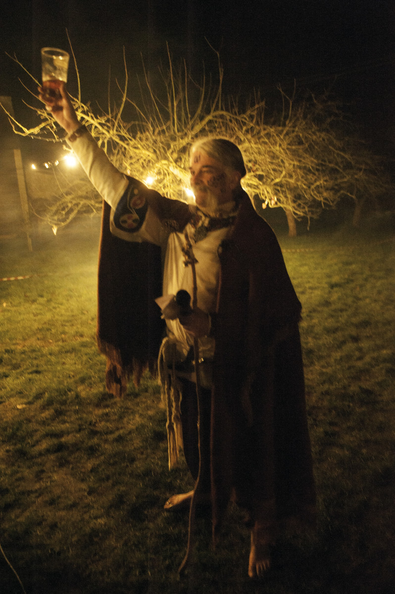 """Wassail!"" Druid Martin raises a toast to the Queen of the Orchard."