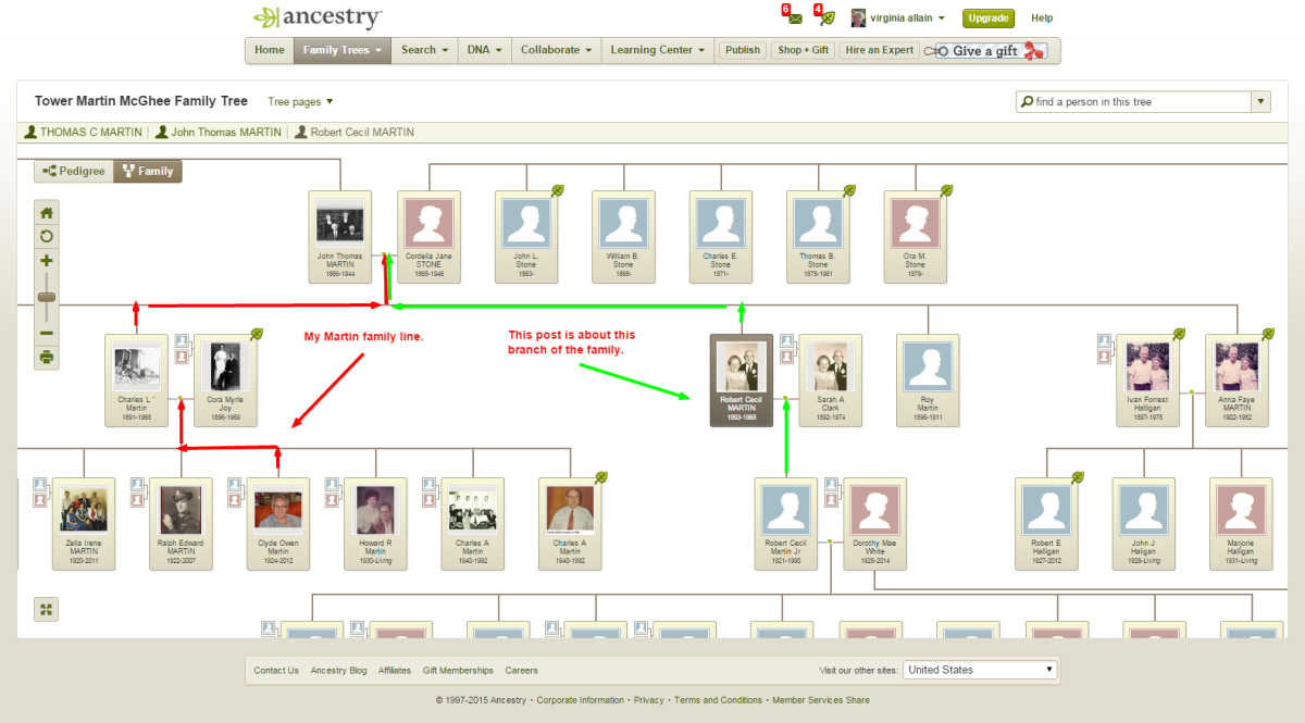 My sister asked how Robert Martin was related to us. Using a screenshot of our family tree on ancestry, I could show her our line back to our great-grandparents and then connect that to Robert.