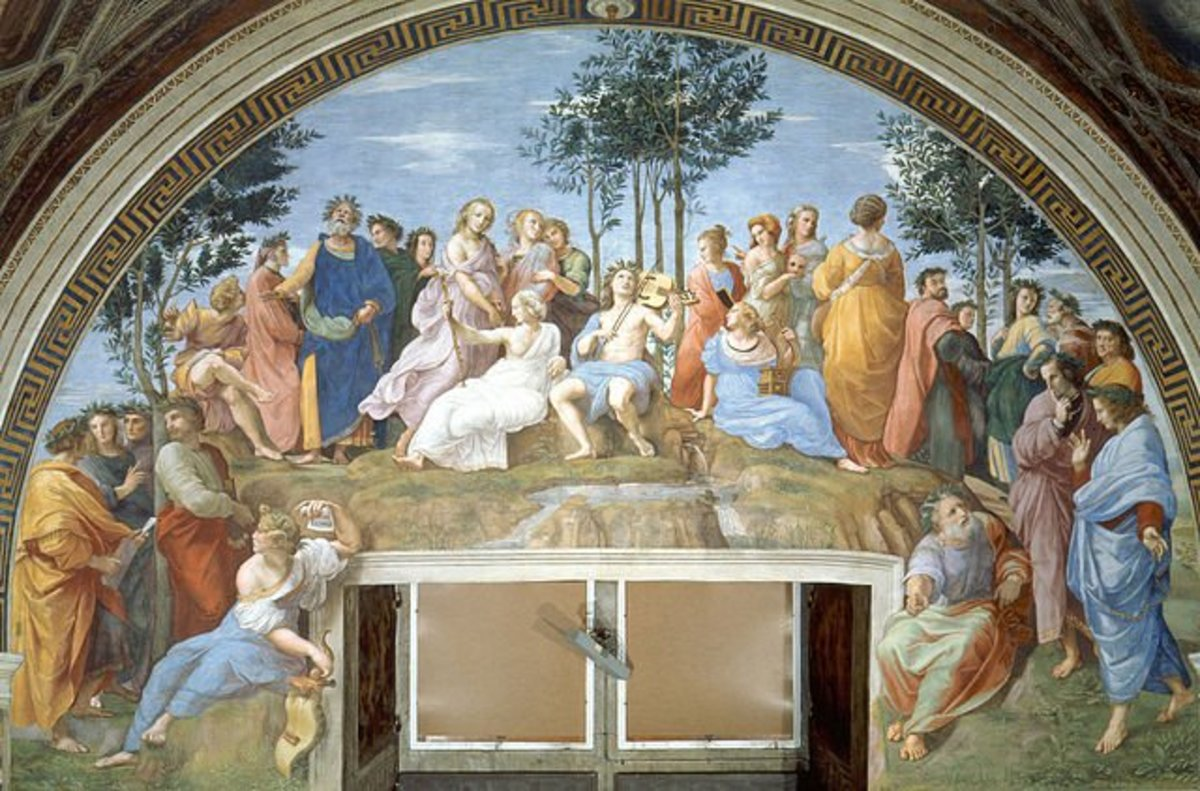 The Parnassus painting displays the Muses and Apollo flanked by poets. It was painted by Raphael in 1511.
