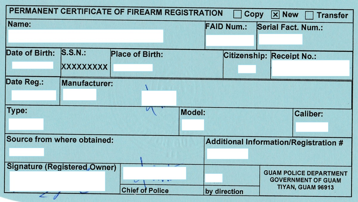 Example of Guam firearm registration