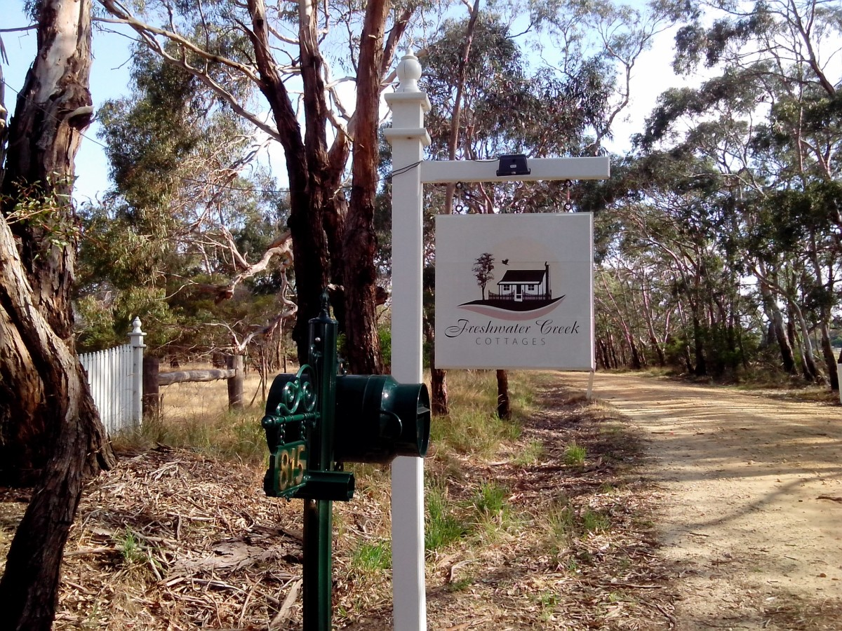 At the entrance of Freshwater Creek Cottages.