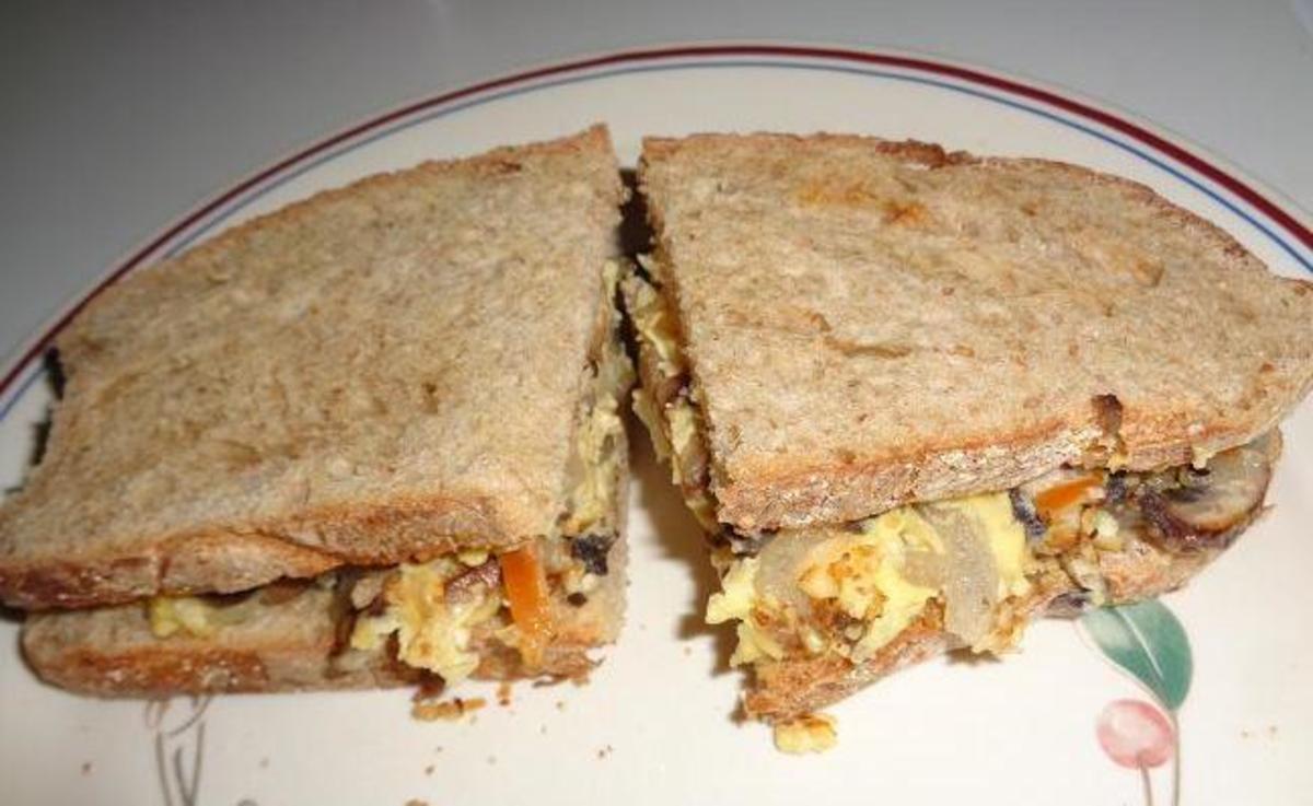 Scrambled egg cheese omelet sandwich.