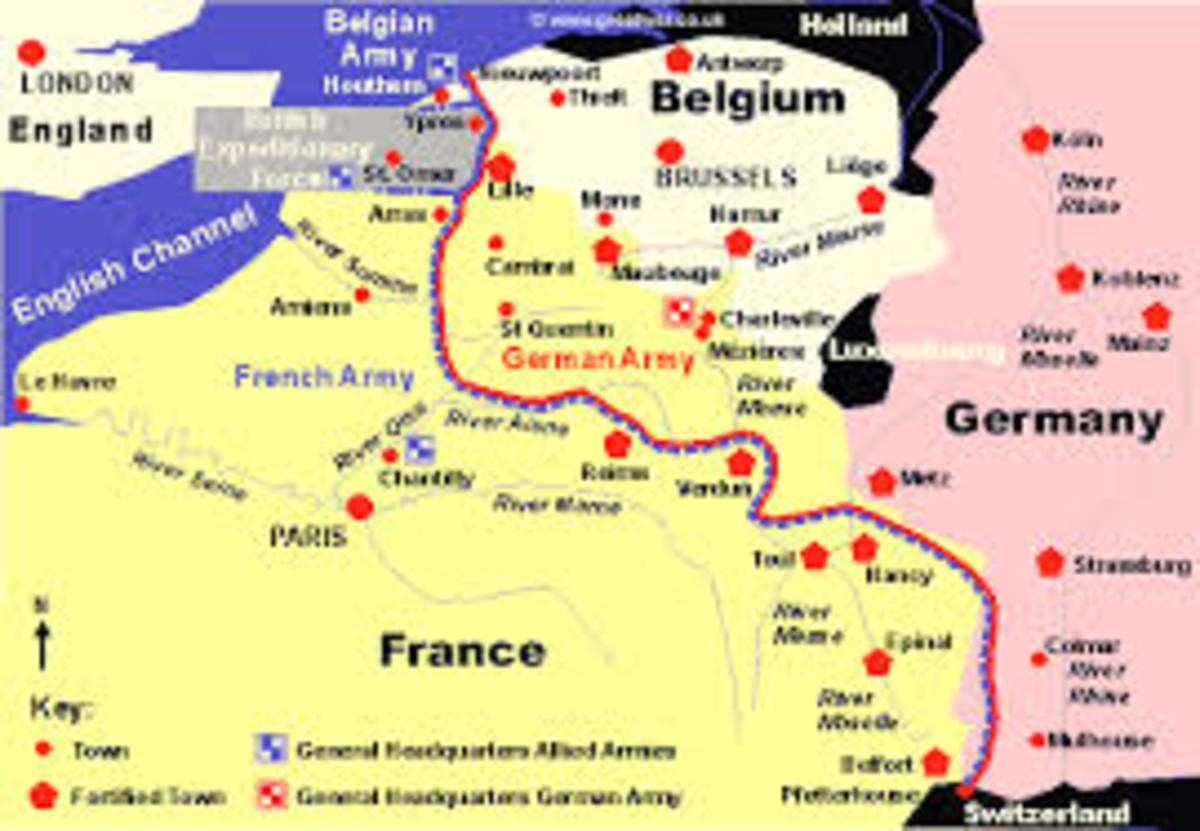 A map of the Western Front - France and the low Countries - World War 1