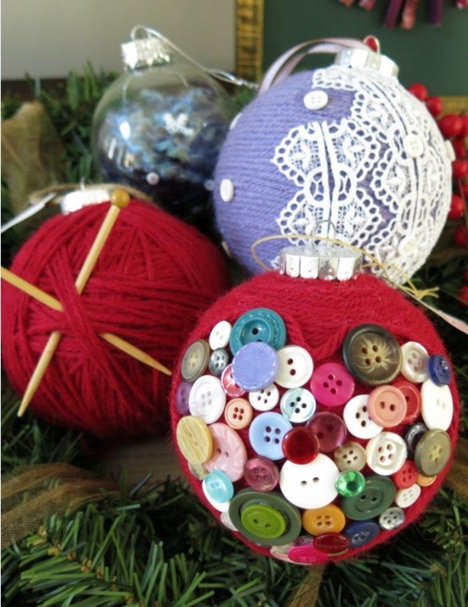 DIY Craft Decoration:  Easy Handmade Christmas Ornaments Made with Yarn