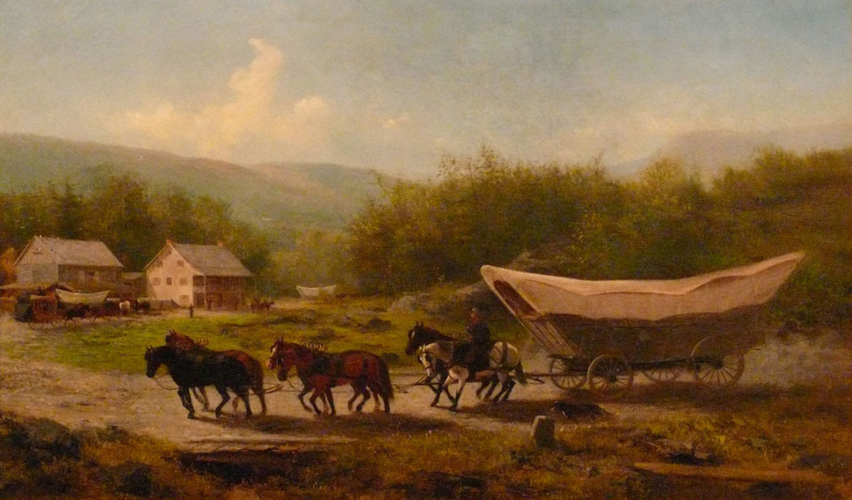 Painting depicting a Conestoga wagon in the mid-Nineteenth Century