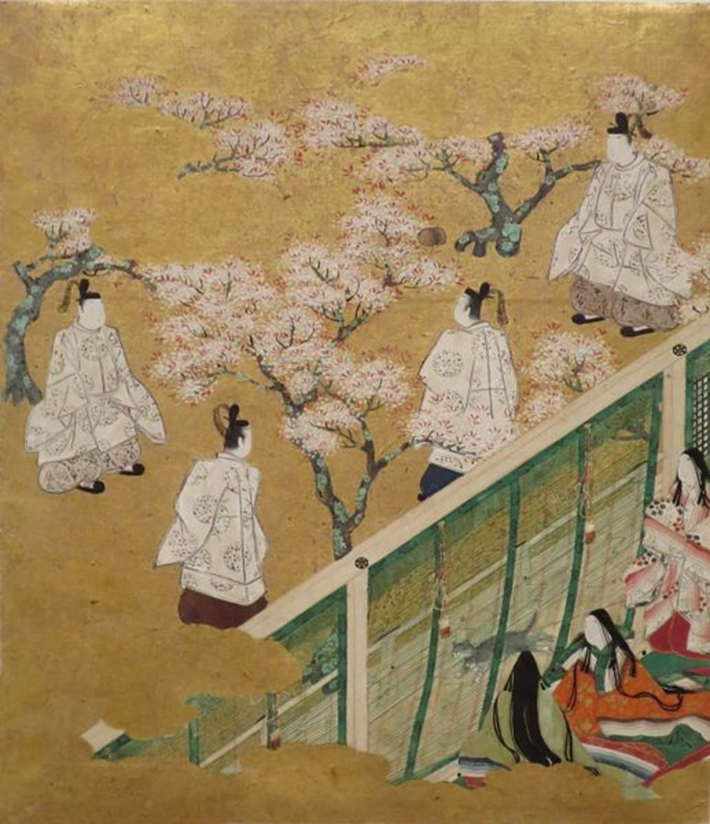 18th century anonymous illustration of an episode in The Tale of Genji, now in the Honolulu Museum of Art.