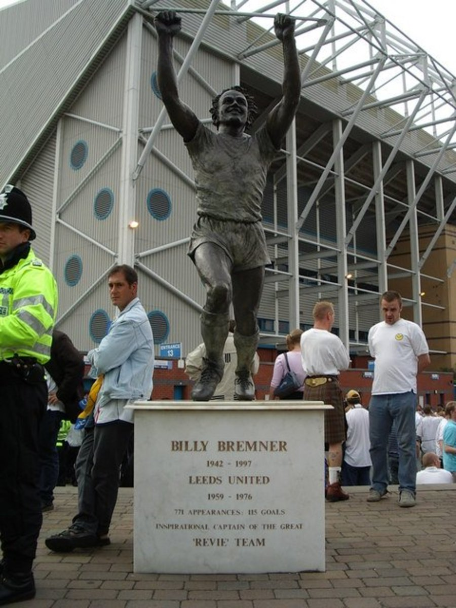 "The Billy Bremner statue outside Elland Road football stadium.  Nicknamed ""King Billy"", Bremenr played for the team from 1959 to 1976, captaining the team through its golden period.  Bremner died in 1997 from a suspected heart attack aged just 54."