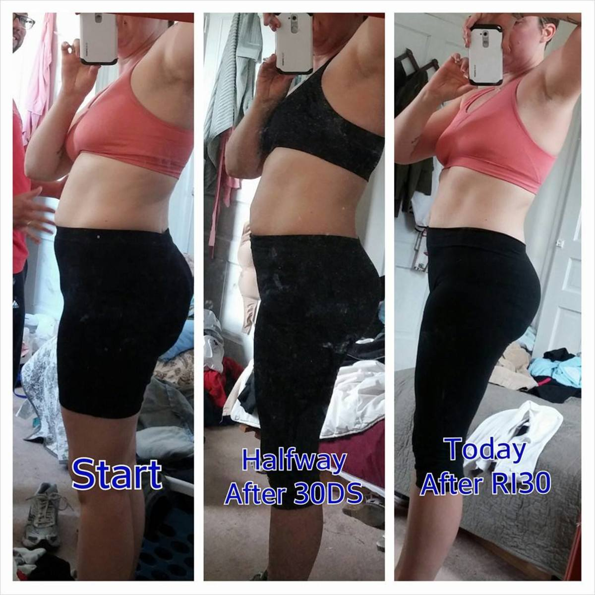 I tarted the 30-Day Shred on April 20 and ended on May 27th. I started Ripped in 30 on May 28th and ended on June 29th.