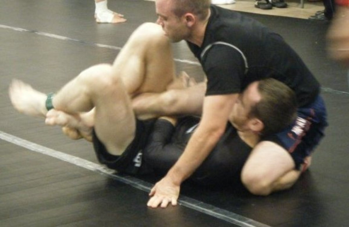 The author using deep half guard in competition.
