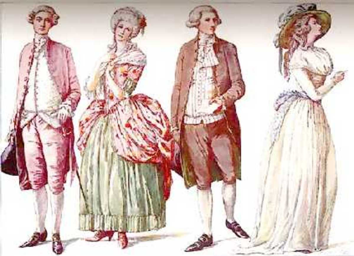 American Fashion, 1780s. L. Suit in French style; LC. Gown in French style; RC. and R. suit and gown
