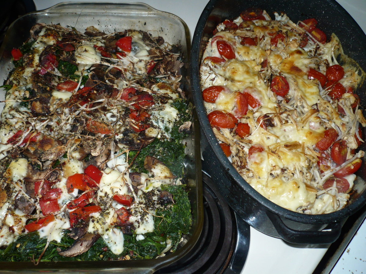 Vegetable Lasagna is an Easy fun recipe that is Gluten free. The one to the right of the photo is the leftover ingredients that didn't fit into the other one. It is missing swiss chard and spinach . I always cook everything and waste nothing.