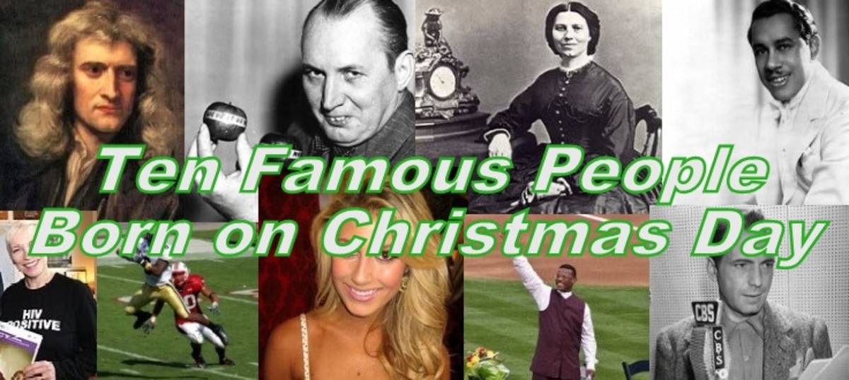 These famous people were born on Christmas (Photo sources:  Wikipedia.  See individual entries for source information)