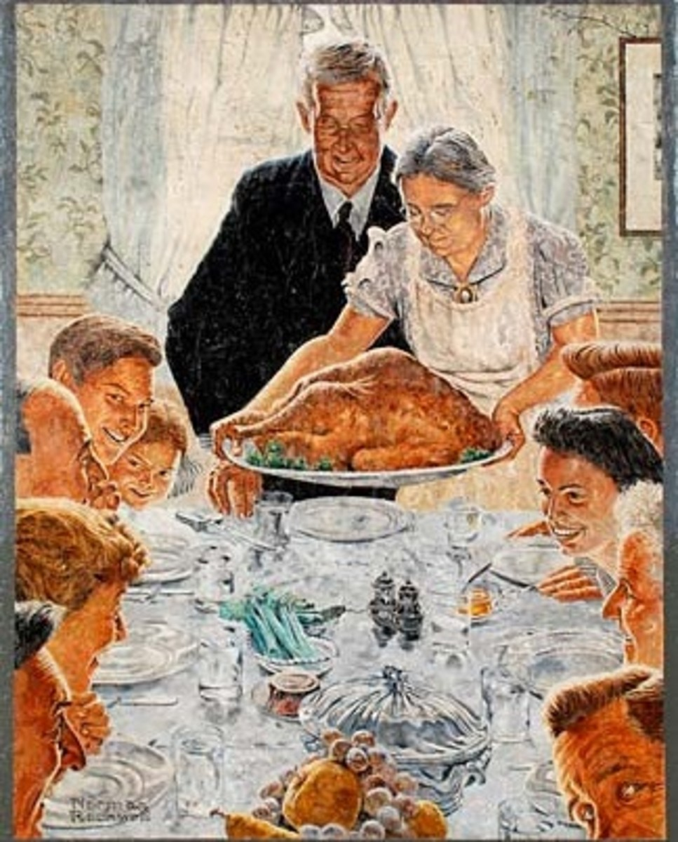 Mural replica of a Norman Rockwell painting.
