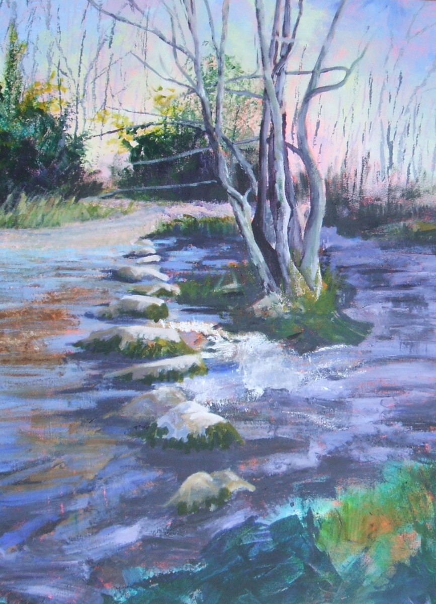 The final piece, a semi abstact landscape of water with stepping stones.