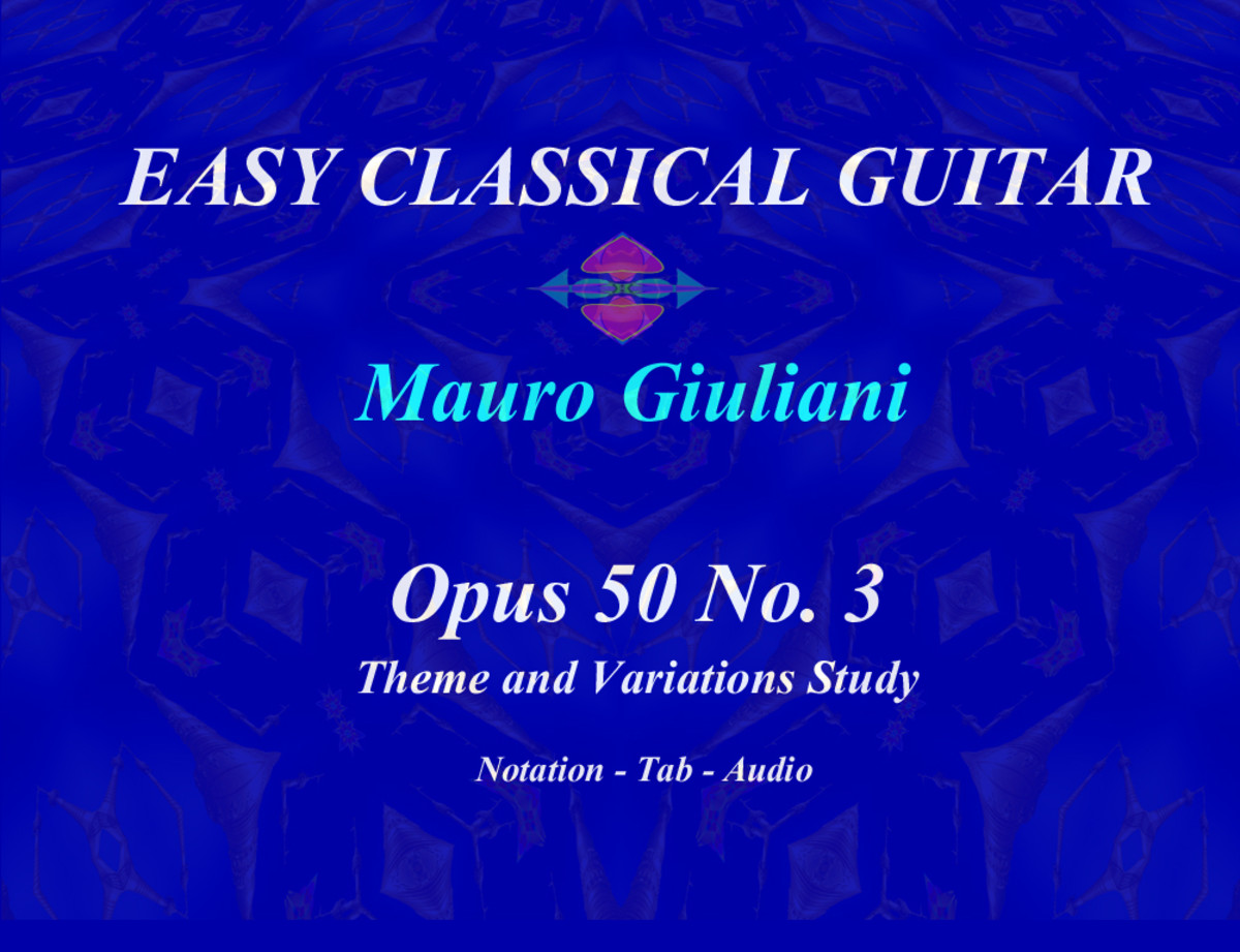 Opus 50 no.3 by Giuliani in guitar tab, standard notation and audio.